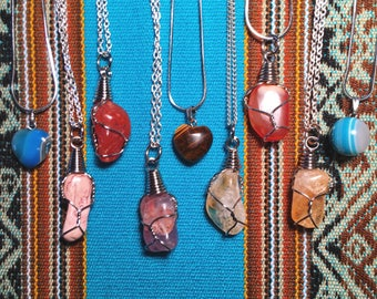 Various Gemstone Crystals with chain