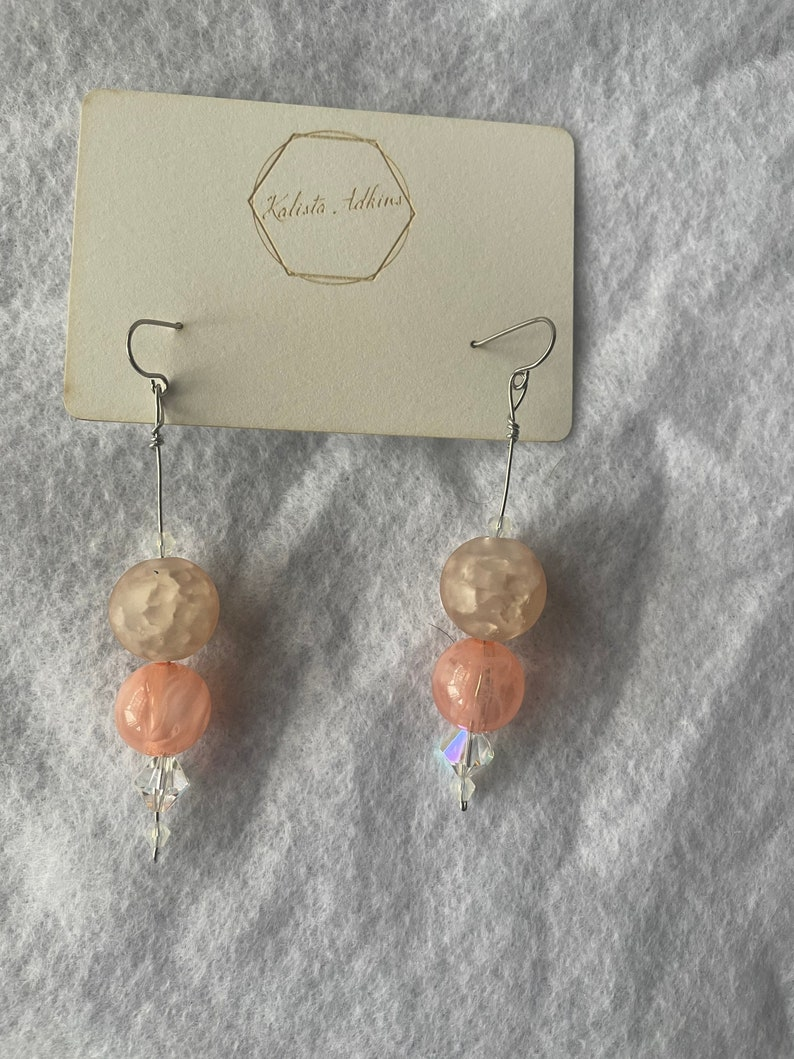 One of a Kind Pink Dangle Earrings