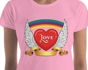 Rainbow - Heart - Love - Women's short sleeve t-shirt