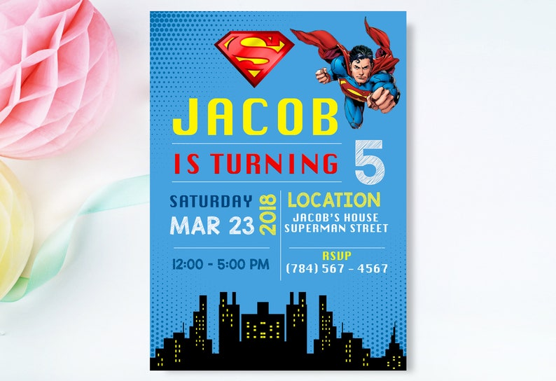 Superman Invitation Invite Birthday