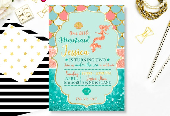 Mermaid Birthday Invitation Blue Gold