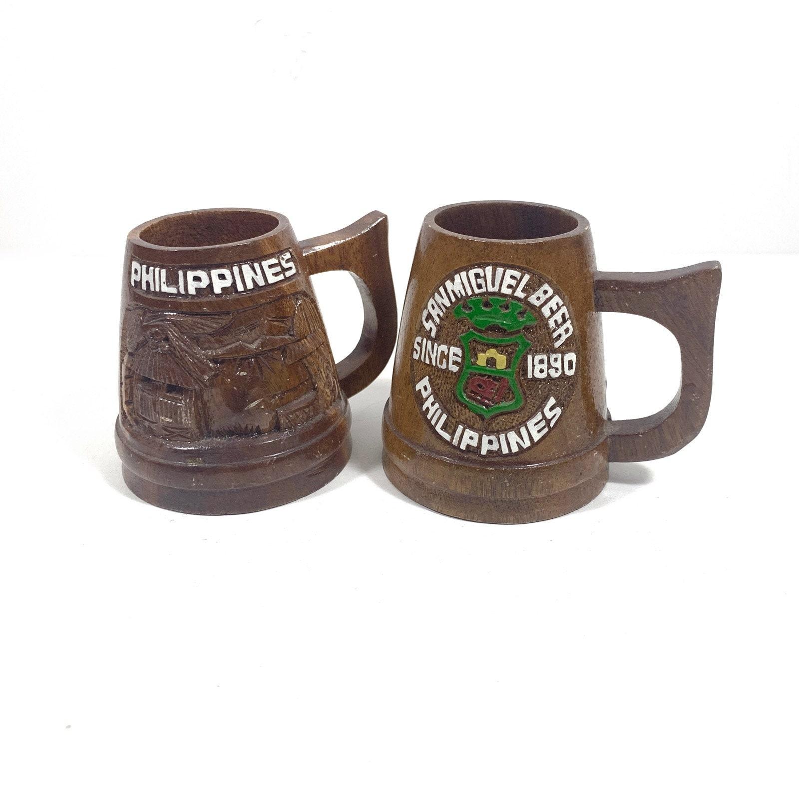 Tiki Mugs with Carved Wood Design, Vintage Wooden Tiki Beer Stein, Tiki Bar  Decor, Philippines Souvenir Mugs for San Miguel Beer