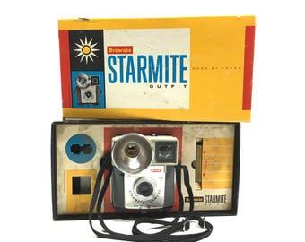 Brownie Starmite Camera in Original Box with Booklet by Kodak, circa 1960s, Vintage Box Camera