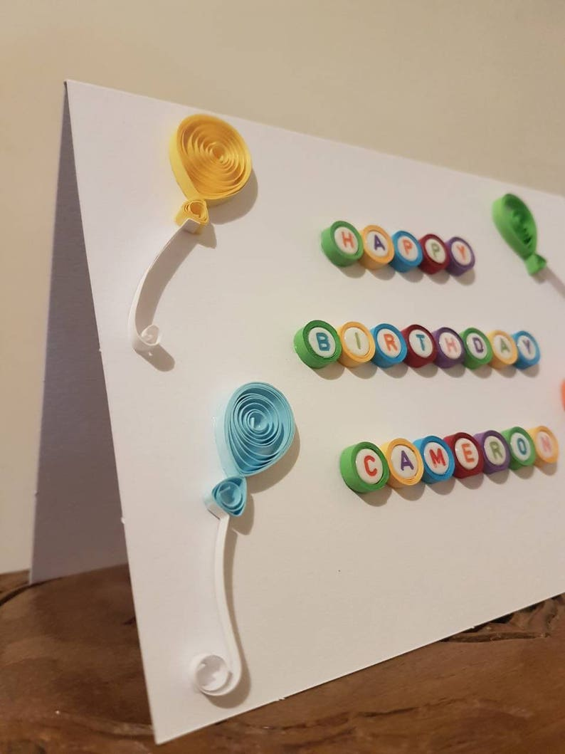 /' Greeting Card Personalised Handmade Quilled /'Happy Birthday name