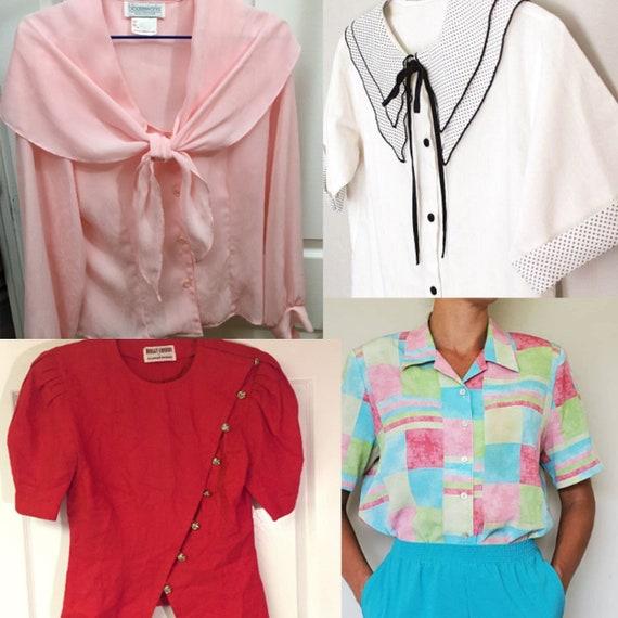 Vintage Blouse Lot Size Medium- 6 piece Clothing L