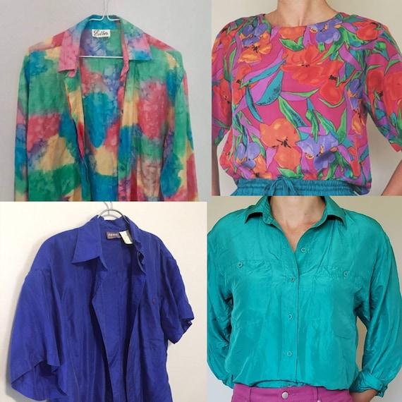 Vintage Lot - 6 Silk Blouse Lot - Silk Lot - Vinta