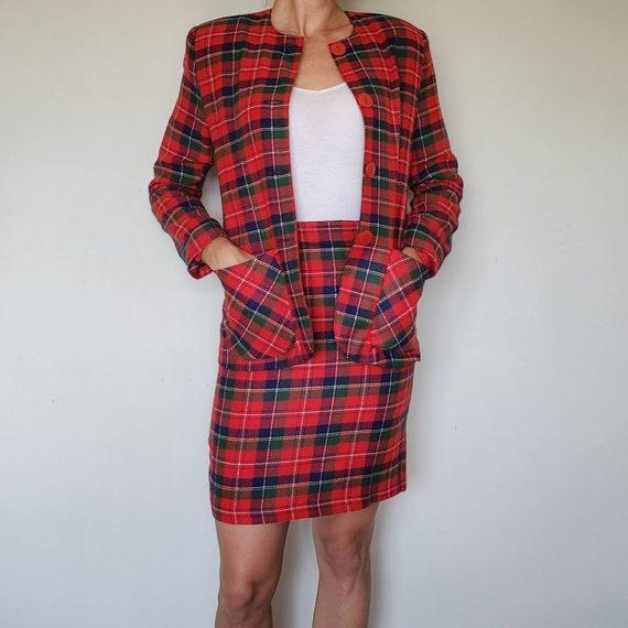 Vintage Red Plaid Outfit - Vintage Set - Vintage p