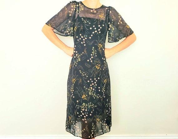 Vintage Sheer Bell Sleeve Dress Size m