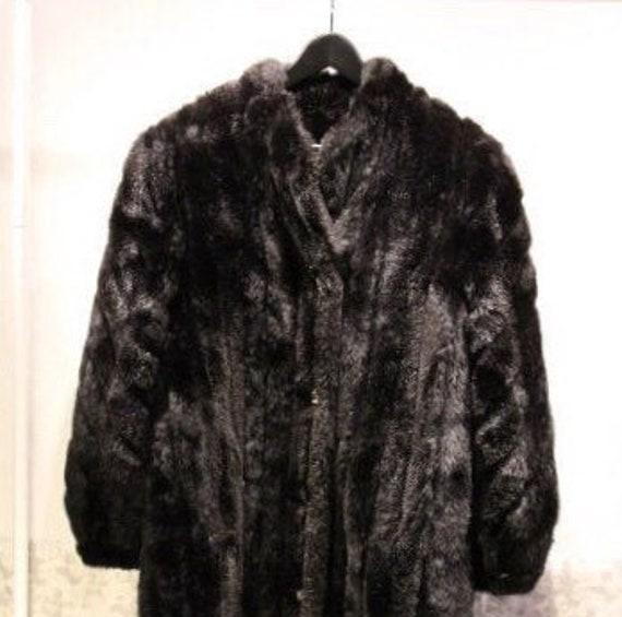 Vintage Faux Fur Trench Coat | Black Faux Fur Coat