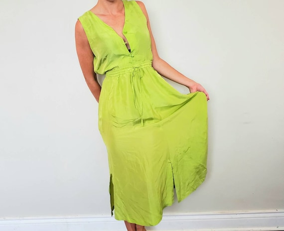 Vintage Green Silk Set Size m Green Silk Top and G