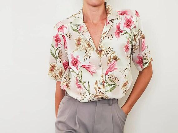 Vintage Floral Blouse - 1980's Blouse - Size L