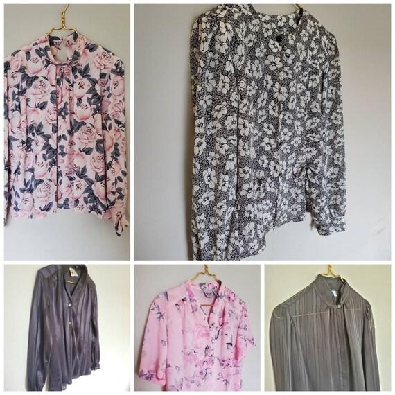 Vintage blouse lot 5 blouses size medium, Vintage