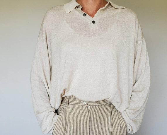 Vintage Raffi Tan Knit Polo - XL