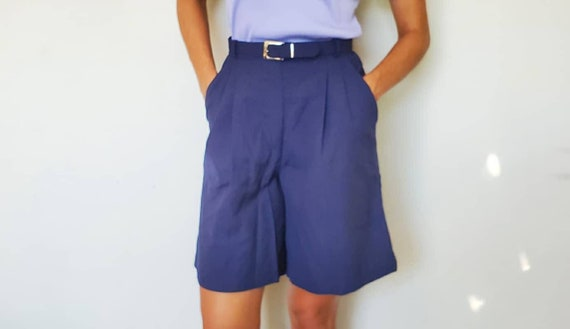 White Navy Blue Shorts high waist vintage shorts s
