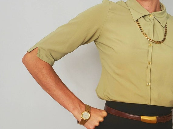 Vintage Green Blouse | Vintage Blouse | Size Mediu