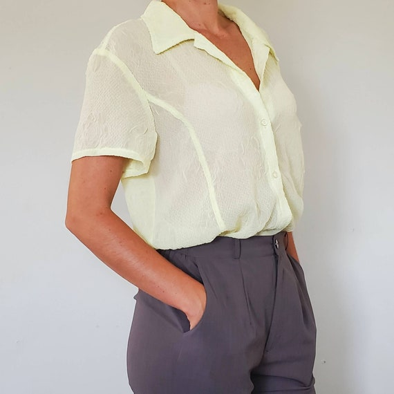 Vintage Yellow Stretch Blouse - 1980's Blouse - Si