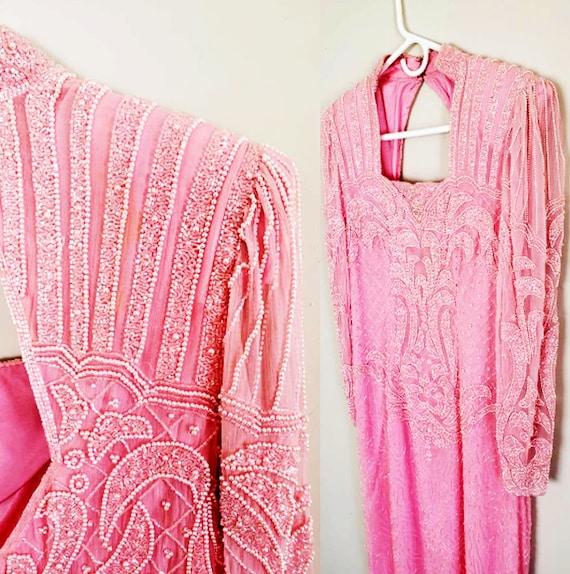 1920s Dress Silk Gatsby Dress Pink 1920s dress