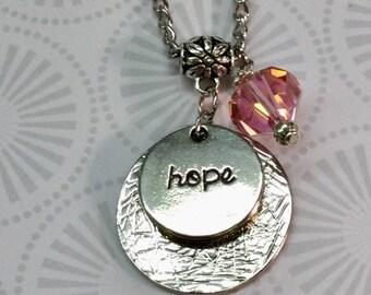 Cancer awareness hope necklace