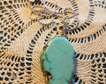 Turquoise oblong  16 in. sterling silver