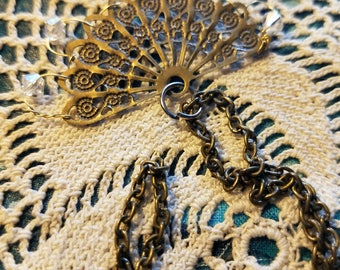 vintage - antique fan with  clear crystals