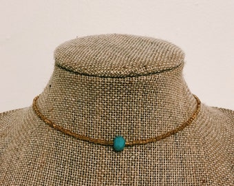 Gold and Turquoise Pendant Choker