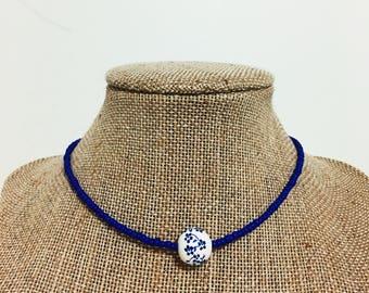 Blue Floral Choker, blue choker, white choker, cute choker, seed bead choker, floral choker