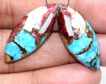 Red-Sky Oyster Copper Turquoise Smooth Plain Drops Shape Briolettes 8x12 MM 6 Pieces Handmade Gemstone Briolettes High Quality