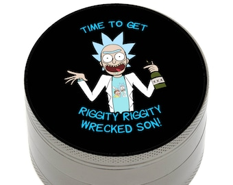 "Herb Grinder Rick Morty Inspired Dab 2.5"" 4 Piece with Pollen Catcher, Storage and Bonus Carrying Bag"