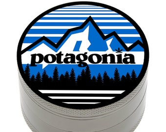"Herb Grinder Patagonia Inspired Potagonia 2.5"" 4 Piece with Pollen Catcher, Storage and Bonus Carrying Bag"