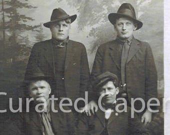 Vintage Postcard Four Men with Hats in Studio