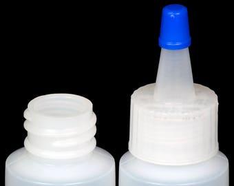 Plastic Spout Lid Dropper/Applicator Bottle w/Blue Overcap, 1-oz., 12-Pack, New