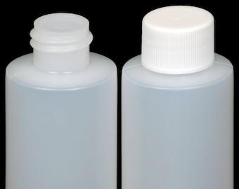 Plastic Bottle (HDPE) w/White Lid, 2-oz. 100-Pack, New