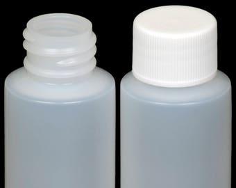 Plastic Bottle (HDPE) w/White Lid, 1-oz. 100-Pack, New