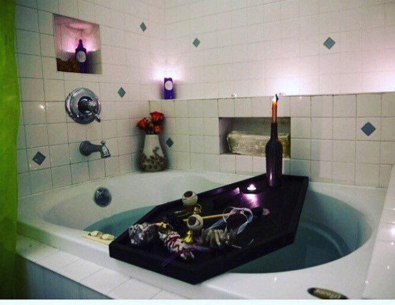Vassoio Vasca Da Bagno : Bara bagno caddy vassoio di vasca da bagno bagno di goth etsy