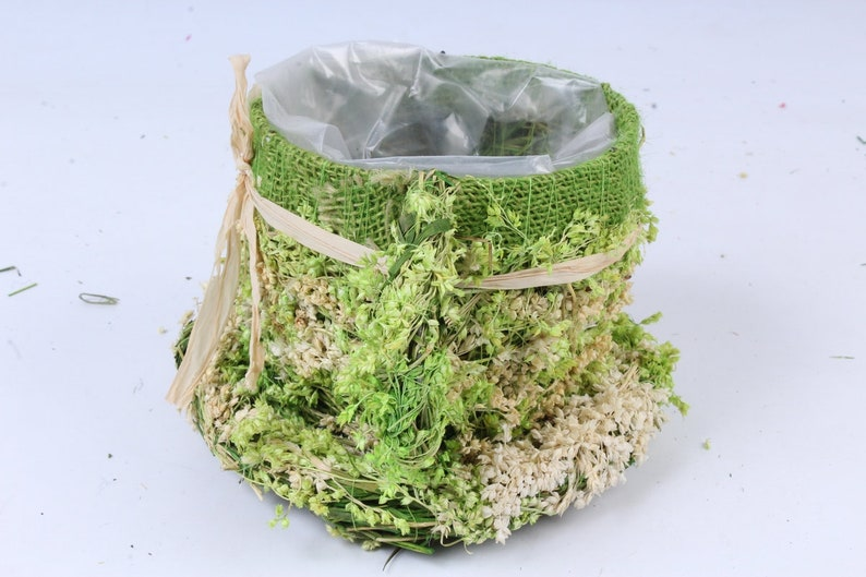 Herb wicker flowerpot home d\u00e9cor handmade planter dried flowers pot natural material Flower box cup with straw bow