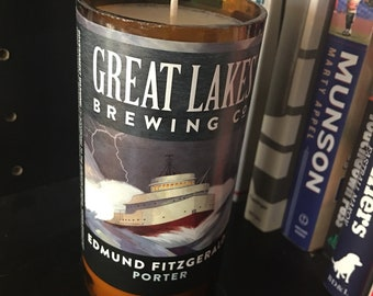 Cinnamon Vanilla Soy Wax Great Lakes Brewing Edmund Fitzgerald Beer Bottle Candle