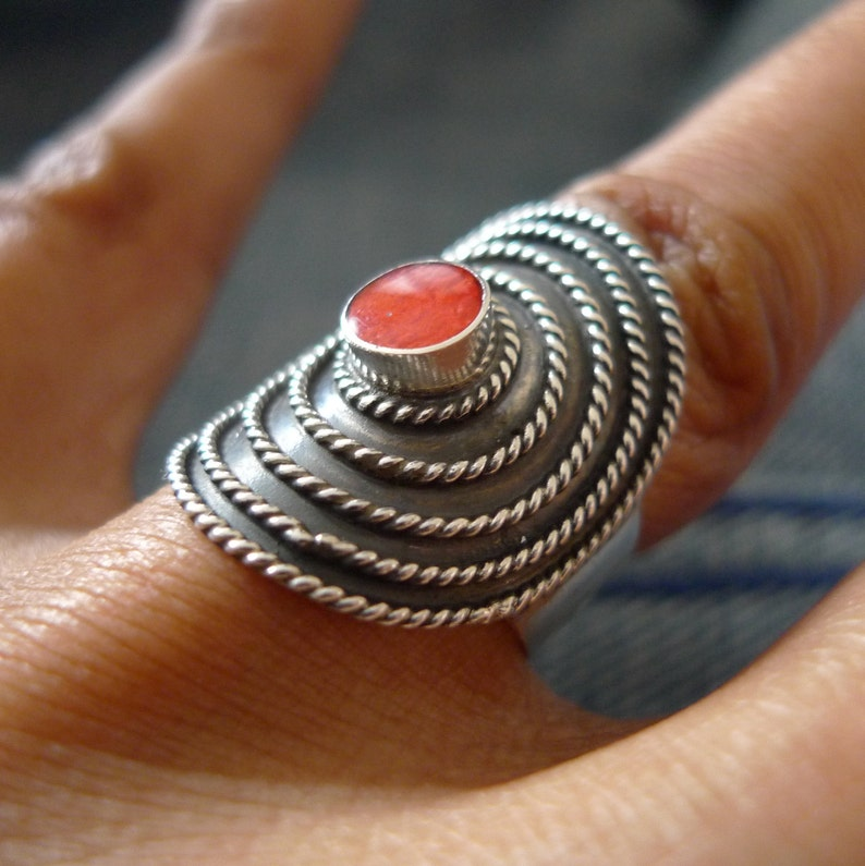 SilverandSoulDesigns 925 Silver Sterling Silver Ring Red Coral UK Size O US 7.25