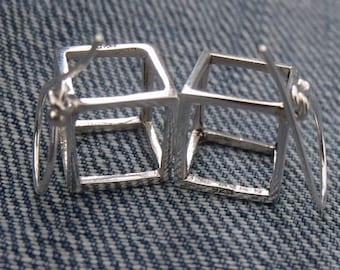 Cube 925 Sterling Silver Earrings SilverandSoulDesigns
