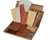 Box of wood veneer offcuts. Great for marquetry, crafts, doll houses, models, card making and many more.