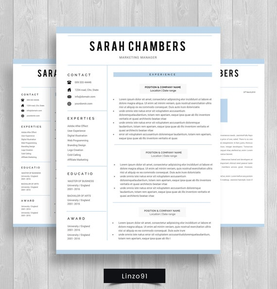 minimal resume 1 pages    cv template for word    two page