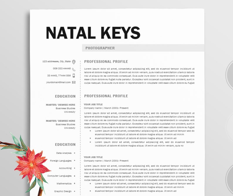 Resume/Professional resume template word / Modern Resume | Etsy