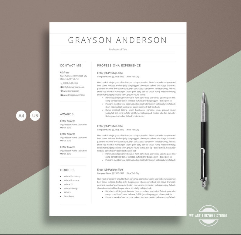 Clean pages resume and Cover letter A4 Resume  CV template for word 1 Page Resume template 2018