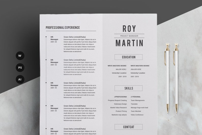 Minimal Resume CV Template For Word Two Pages Resume Etsy