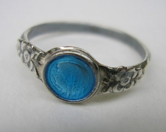 Virgin Mary Blue Enamel Sterling Silver Ring / Religious Antique French Jewelry