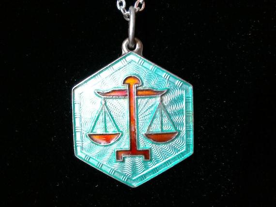 Libra Necklace, Vintage Norwegian pendant signed D
