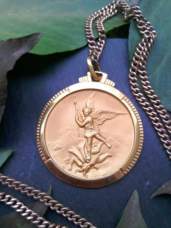 Antique French St Michael Archangel medal necklace