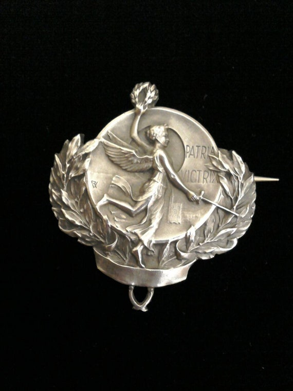 Antique French Silver Victory Angel Brooch