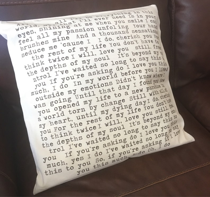 Any Poem Printed My Favorite Poem Throw Pillow Cover Wedding Reading Lyrics Print Poem Words Print Cotton Anniversary Gift Lyrics Cushion