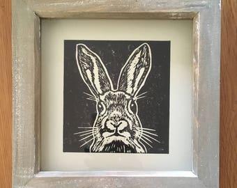 Framed Handprinted Linocut Black Rabbit Print
