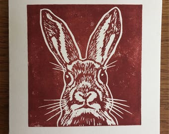 Handmade Linocut Printed Brown Rabbit Card